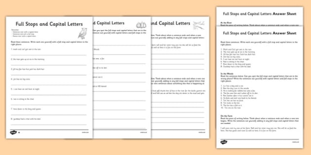 Capital Letters and Full Stops with Phase 3 Words Activity Sheet - capital letters, full stops, activity, worksheet