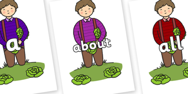 100 High Frequency Words on Dad Picking Lettuces - High frequency words, hfw, DfES Letters and Sounds, Letters and Sounds, display words