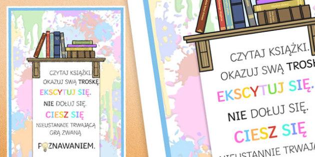 Plakat motywacyjny Czytaj książki i okazuj swoj troskę po polsku