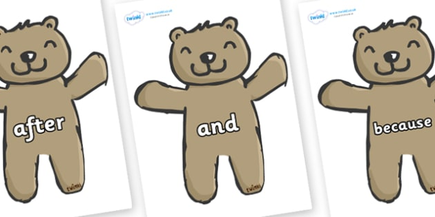 Connectives on Teddy Bears - Connectives, VCOP, connective resources, connectives display words, connective displays