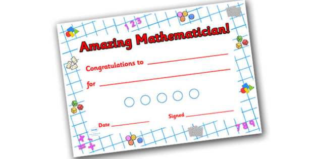 Numeracy Themed Sticker Reward Certificate 15mm - reward certificate, sticker reward certificate, sticker certificate, numeracy reward certificate, 15mm