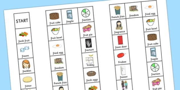 Two Syllable FR Board Game - two syllable, fr, board game, board, game, speech, language