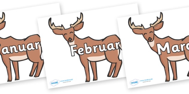Months of the Year on Deer - Months of the Year, Months poster, Months display, display, poster, frieze, Months, month, January, February, March, April, May, June, July, August, September