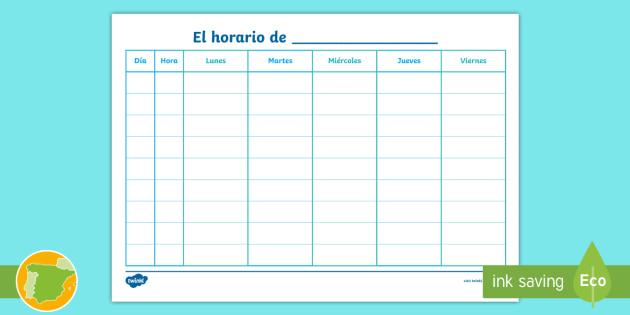 Horario en blanco con 10 períodos Horario - Horario,Spanish