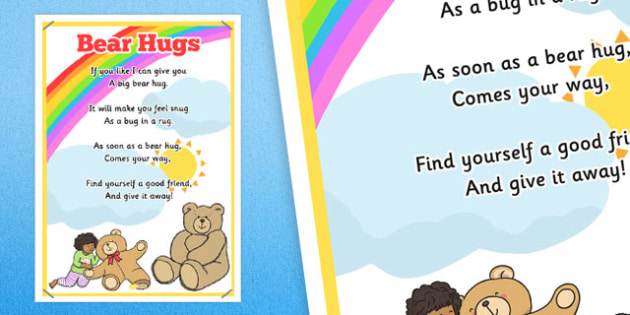 Bear Hugs Rhyme Poster - bear hugs, rhyme poster, display, rhyme