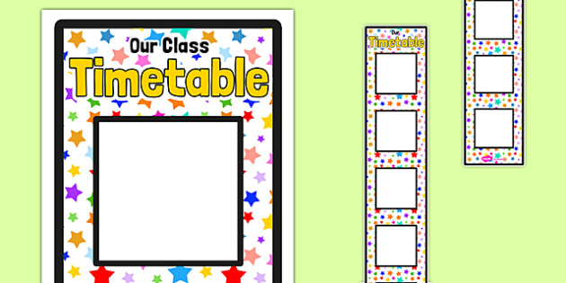 Large Multicoloured Stars Themed Vertical Visual Timetable Display