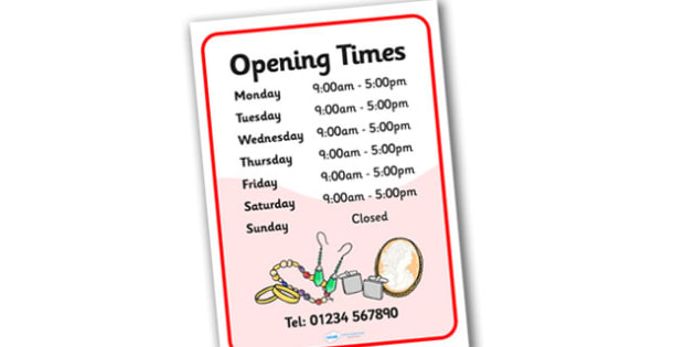 Jewellery Shop Role Play Opening Times Poster - jewellery shop opening times, jewellery shop poster, jewellery shop role play, role play, shops, openings