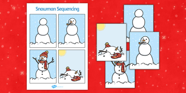 Snowman Building Sequencing - snow man, building, sequencing