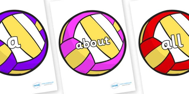 100 High Frequency Words on Volleyballs - High frequency words, hfw, DfES Letters and Sounds, Letters and Sounds, display words