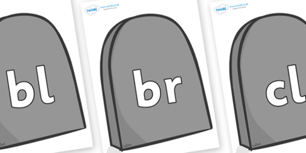 Initial Letter Blends on Gravestones - Initial Letters, initial letter, letter blend, letter blends, consonant, consonants, digraph, trigraph, literacy, alphabet, letters, foundation stage literacy
