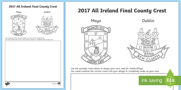 Design your own 2017 All-Ireland Final Crest Activity Sheet-Irish, worksheet