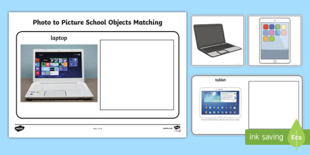 Workstation Pack: Photo to Picture School Objects Matching Activity Pack