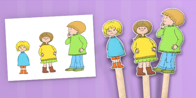 Stick Puppets to Support Teaching on Titch - stories, story books, roleplay, props