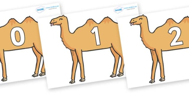 Numbers 0-31 on Camels - 0-31, foundation stage numeracy, Number recognition, Number flashcards, counting, number frieze, Display numbers, number posters