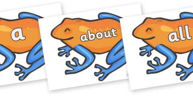 100 High Frequency Words on Tree Frogs - High frequency words, hfw, DfES Letters and Sounds, Letters and Sounds, display words