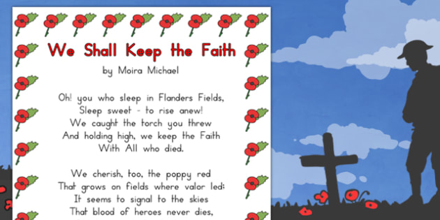 Remembrance Day Poem We Shall Keep The Faith A4 - australia