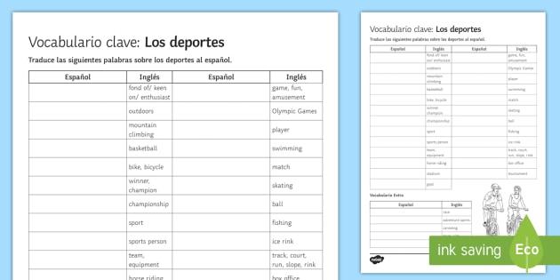 Sports Vocabulary English to Spanish Translation Activity Sheet Spanish - Spanish, Vocabulary, Sports, Free time, translation, activity, sheet, worksheet