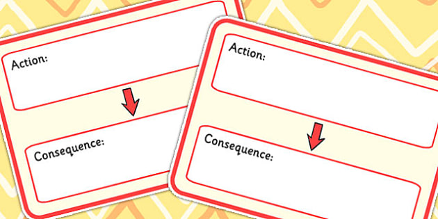 Action Consequence Visual Support Cards - learning support, SEN