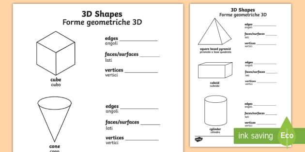 3D Shape Properties Activity Sheets English/Italian - 3D Shape Properties Worksheets - 3D, shapes, shape properties, shpes, 3dshape, 3d sape, shaoe, activ
