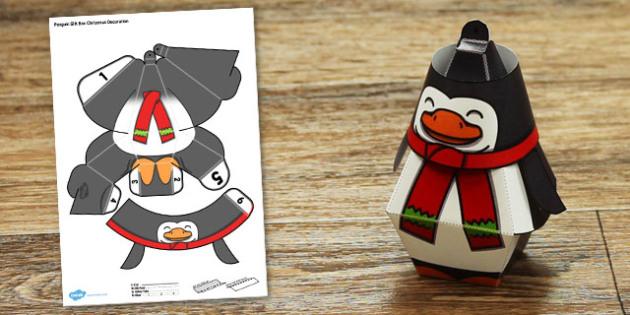 Penguin Gift Box Christmas Decoration - penguin, gift box, christmas, decoration, craft, paper