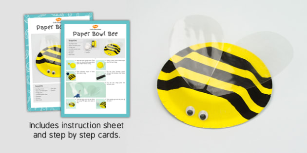 Paper Bowl Bee Craft Instructions - craft, instruction, bee, bowl