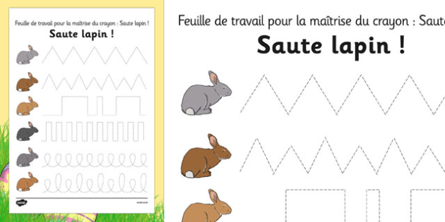 Bunny Hop Pencil Control Worksheets French - french, easter, fine motor skills