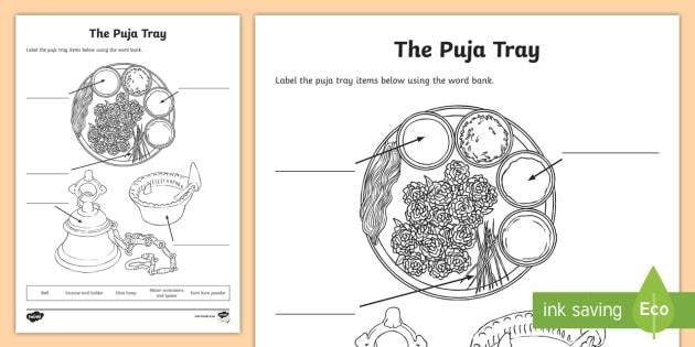 The Puja Tray Activity Sheet - hinduism, hindu, worship, shrine, worksheet, divali, diva, diya