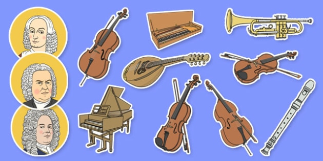 Baroque Period Music Display Cut Outs - baroque, music, display