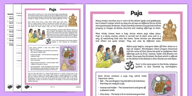 Puja Differentiated Comprehension Activity Sheet Pack, worksheet, puja tray,