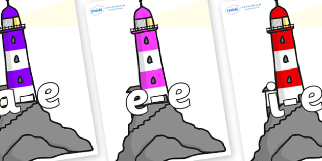 Modifying E Letters on Lighthouses - Modifying E, letters, modify, Phase 5, Phase five, alternative spellings for phonemes, DfES letters and Sounds