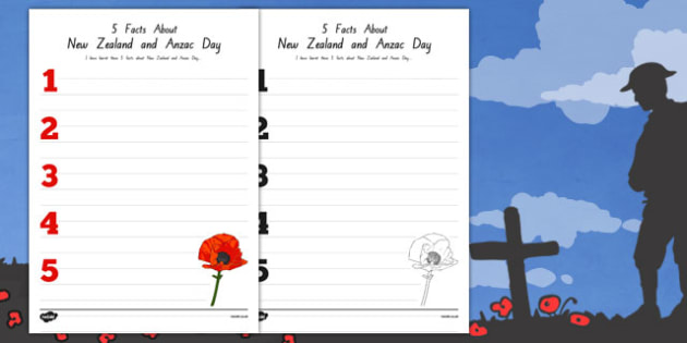 5 Facts About New Zealand and Anzac Day Activity Sheet - nz, new zealand, anzad day, activity, worksheet