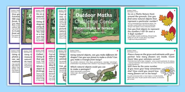 Outdoor Maths Challenge Cards Polish Translation-Polish-translation