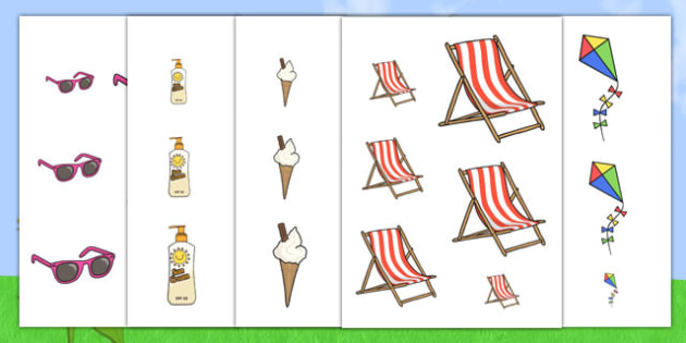 Summer Size Ordering - size, shape, order, sort, seasons, weather
