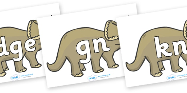 Silent Letters on Triceratops - Silent Letters, silent letter, letter blend, consonant, consonants, digraph, trigraph, A-Z letters, literacy, alphabet, letters, alternative sounds