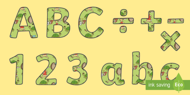 The Tortoise and The Hare Themed Display Lettering - letters