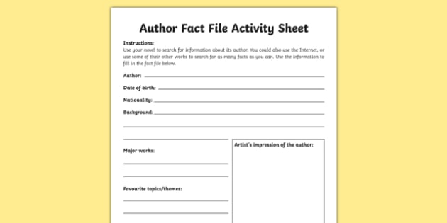 Author Fact File Activity Sheet Irish Worksheet