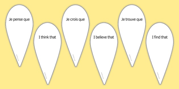 Eventail d'opinions French Opinions Fan - french, opinions, phrases, words, language, france, ks3