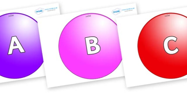 A-Z Alphabet on Spheres - A-Z, A4, display, Alphabet frieze, Display letters, Letter posters, A-Z letters, Alphabet flashcards