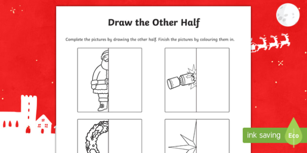 Christmas Themed Draw the Other Half Activity Sheet