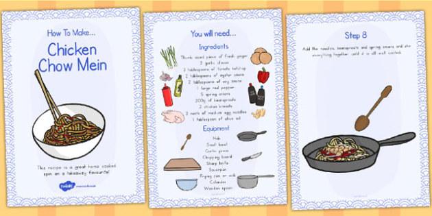 Chicken Chow Mein Recipe Cards - australia, recipe, card, chicken