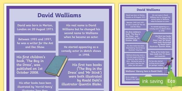 David Walliams Facts Display Poster - author, fiction, non-fiction, celebrity, famous, biography, layout, literacy