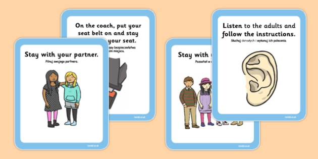 School Trip Rules Cards Polish Translation - polish, school trip, rules, cards, rules cards