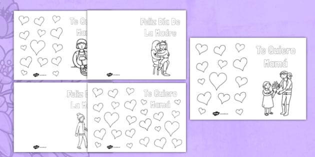 Tarjeta para colorear El día de la Madre - Mother's Day, card, colouring, Dia de la madre