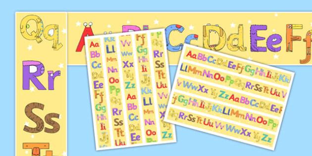 Monster Alphabet Display Borders - monster alphabet, monster, alphabet, display borders, display, borders