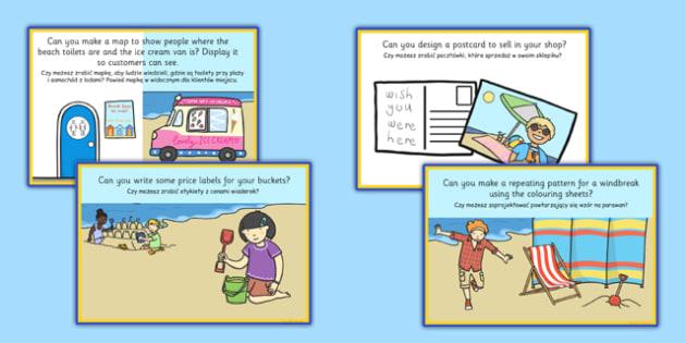 Seaside Souvenir Shop Role Play Challenge Cards Polish Translation - polish, seaside, souvenir shop, role play, challenge cards