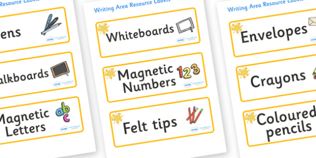 Orange Themed Editable Writing Area Resource Labels - Themed writing resource labels, literacy area labels, writing area resources, Label template, Resource Label, Name Labels, Editable Labels, Drawer Labels, KS1 Labels, Foundation Labels, Foundation