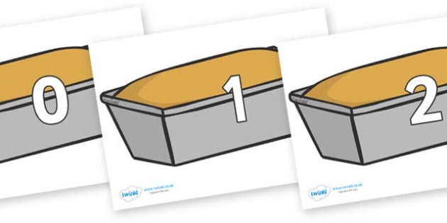 Numbers 0-100 on Bread Loaves - 0-100, foundation stage numeracy, Number recognition, Number flashcards, counting, number frieze, Display numbers, number posters