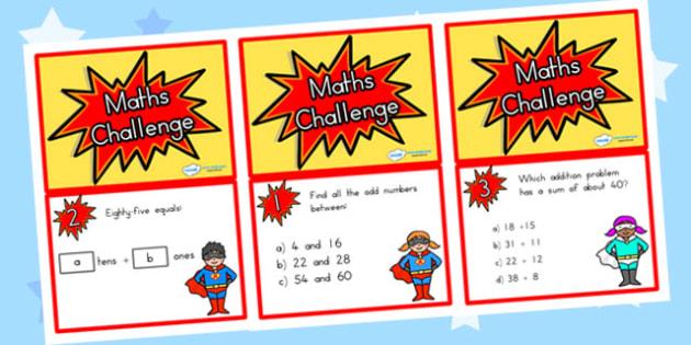 Year 3 Maths Challenge Cards - year 3, maths, challenge, cards