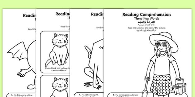 Reading Comprehension Three Key Words Activity Sheets Arabic Translation - Reading comprehension, information carrying words, key words, follow instructions, worksheet