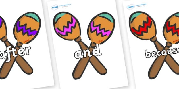 Connectives on Maracas - Connectives, VCOP, connective resources, connectives display words, connective displays
